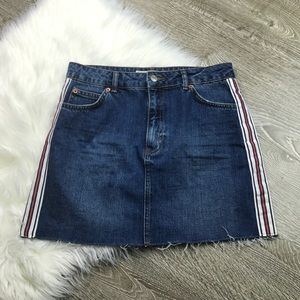 Topshop Moto Side Striped Denim Mini Frayed Skirt